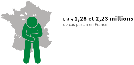 En France, on comptabilise entre 1,28 et 2,23 millions de cas par an